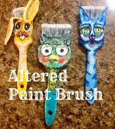 altered dollar store paint brush and plaster rap to make these