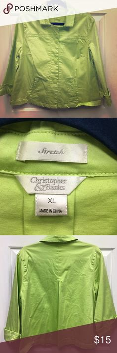 Christopher & Banks lime green jacket size XL Like New Christopher& Banks Lime Green Blazer /Jacket with a button front and 2 small pockets. This lightweight jacket has a pleated back and is size XL with stretch. Every item that I sell has No Holes, Stains or Funky Odors. Everything has been purchased by me at retail stores unless otherwise noted. Happy Poshing! Christopher & Banks Jackets & Coats Blazers