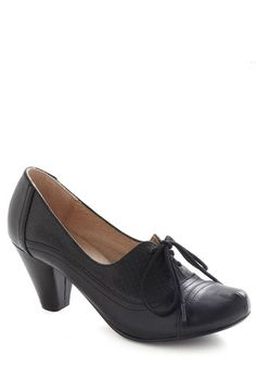 Right Here Heel in Black by Chelsea Crew - Black, Solid, Vintage Inspired, 20s, 30s, Mid, Work, 40s, Leather, Faux Leather, Lace Up, Variation