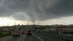 An EF-2 tornado that was tearing through the Fort Allen neighborhood on March 23, 2011, taken from the western end of the US 30/Greensburg Bypass.