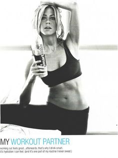 Ab Motivation Like we already didn't know how fab her body was, check out Jennifer Aniston's new smartwater ad. DAMN, I mean I know there is retouching, etc, but still, DAMN.