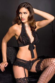 Tie front ruffled lace halter top with laceup front short with garter clips