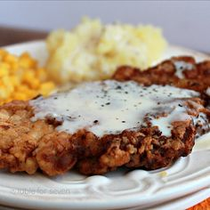 Table for Country Fried Pork with White Gravy Pork Chop Recipes, Meat Recipes, Cooking Recipes, Spinach Recipes, Oven Cooking, Kitchen Recipes, Yummy Recipes, Cooking Tips, Recipies