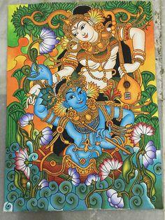 It's madhubani Radha Krishna painting Kerala Mural Painting, Indian Art Paintings, Kalamkari Painting, Madhubani Painting, Pottery Painting Designs, Ganesha Painting, Madhubani Art, Indian Folk Art, Mural Wall Art