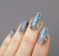 Marble with gold cracks #nails #mani #manicure
