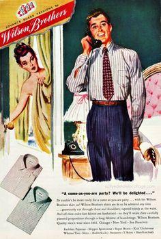Mens fashion 1946 1950s Fashion Menswear, Gents Fashion, 1940s Fashion, Vintage Fashion, Vintage Advertisements, Vintage Ads, Vintage Prints, Vintage Posters, 1940s Woman