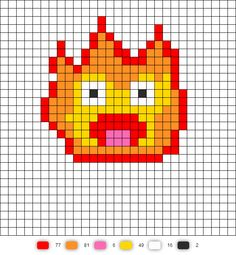 Calcifer from Howl's Moving Castle - Perler bead pattern