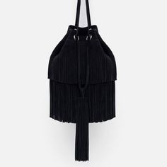Image 1 of FRINGED LEATHER BUCKET BAG from Zara