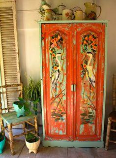 Gorgeous orange and turquoise painted wardrobe Las vidalas Hand Painted Furniture, Funky Furniture, Paint Furniture, Repurposed Furniture, Furniture Makeover, Distressed Furniture, Furniture Design, Painted Wardrobe, Deco Retro