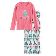 2dc3d358fe Girls 7-16 Jammies For Your Families Retro Car Top   Fleece Bottoms Pajama  Set