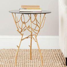 Safavieh Tara Gold and Black Glass Top End Table-FOX2520B - The Home Depot