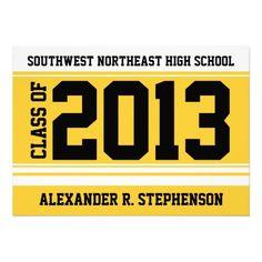 2013 Yellow White Athletic Stripe Graduation Invitations