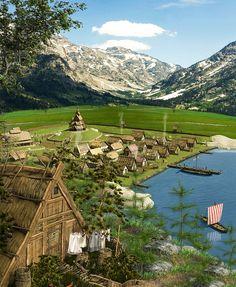 Viking Village, Village Map, Medieval World, Medieval Town, Viking Runes, Viking Age, Norse Symbols, Mayan Symbols, Egyptian Symbols