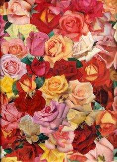 Old Roses vintage collage Art Print