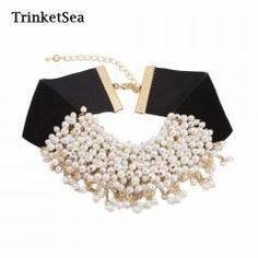 [ 49% OFF ] Trinketsea Trendy Black Soft Velvet Choker Collar Necklaces Chunky Pearls Charm Women Fashion Jewelry  New Style