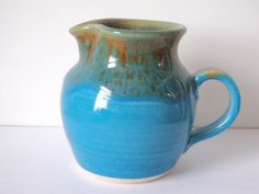 Turquoise Mottle Milk Jug by Pendeen Pottery