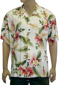 dc31714e2 Orchid Pu'a - Men Rayon Hawaii Shirt Hawaiian Men, Vintage Hawaiian Shirts,