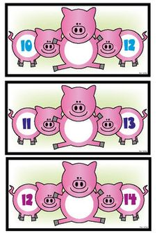 Piggy in the middle sequencing cards. Use with numbered counters