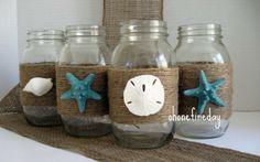 Creative Beach Theme Mason Jars Wedding Party Decoration Ideas - Mason Jar Decorating Ideas