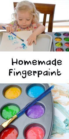 Homemade finger paint is easy to make, saves money, and your kids can even pick their own colors! We tried two different recipes with flour and cornstarch, with slightly different results.