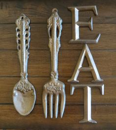 Shabby Chic Kitchen Dining Room Wall Hanging / Oversized Fork And Spoon  Wall Decor / Utensils Wall Art / Aged Copper Or Pick Color
