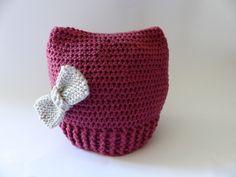 Bonnet hiver bébé au crochet, fille, taille 6/12 mois, entièrement réalisé à la main, pure laine mérinos : Mode Bébé par bbgreen