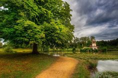 A #tree...a #path...a little #tower in #Versailles.  from #treyratcliff at http://www.StuckInCustoms.com - all images Creative Commons Noncommercial