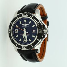 Pre-Owned Gents Breitling Super Ocean 44 Watch. An Eye Catching Model With A Contemporary Looking Black Dial And Bezel. A Stainless Steel Case Complements A Black Leather Strap With An Orange Underside, Powered By An Automatic Movement. This Watch Can Be Viewed At Our Peterborough Store.
