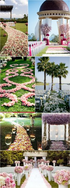 Praise Wedding » Wedding Inspiration and Planning » 24 Unique Aisle Décor Ideas  Eco-friendly, freeze dried rose petals are available at Flyboy Naturals Rose Petals in over 100 colors. www.flyboynaturals.com