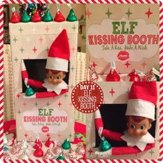 Elf On The Shelf - Day 11: ELF Kissing Booth! I made this out of an old shoebox and the PicMonkey website. #ElfOnTheShelf