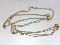 Vintage Faux Pearl Chain Link Station Necklace Extra Long Gold Plated Finish