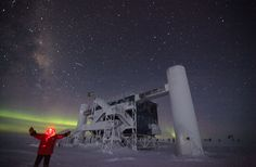 A scientist stands outside the Ice Cube Laboratory at Amundsen-Scott South Pole Station on August 17, 2012. (National Science Foundation/Sven Lidstrom)