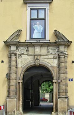 Portal and passage with a picture of Pope John Paul II, Krakow, Poland