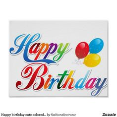 Happy birthday cute colored letters poster