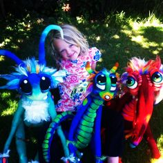 3 Felted creatures & Bailey.