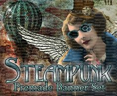 Shop Banner Set  Premade Banner Set  Etsy by LalipopsandDaisies #etsy #shopbanners #steampunk