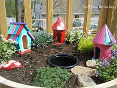 Smart: Paint and use those lil $1 birdhouse at Joanna or the dollar store for fairy garden homes.