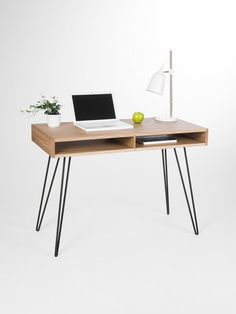 Wooden desk modern table with metal hairpin legs Office desks