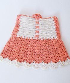 Vintage Crochet Potholder Dress Shaped Pot Holder Orange and White EUC