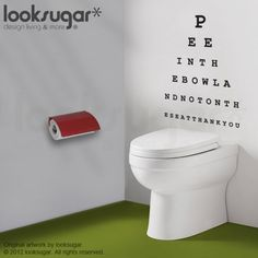 Too funny!!!!  Eye Chart Decal  Pee in the bowl please  Wall Decal by looksugar, $25.00