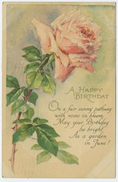A happy birthday. Birthday Greetings, Birthday Cards, Happy Birthday, Vintage Birthday, Vintage Greeting Cards, Vintage Images, Bloom, Diy Projects, Printables