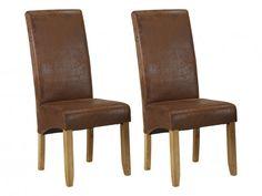 Conjunto 2 sillas SANTOS Microfibra aspecto piel envejecida Looks Vintage, Dining Chairs, Furniture, Home Decor, Products, Unique, Saints, Wooden Chairs, Dining Room Sets