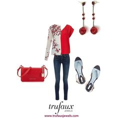 Adorn this flowered cardigan with these Art Deco ruby crystal bead earrings for a bright red ensemble that is sassy.