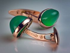 Antique Russian Chrysoprase Gold Cufflinks. made in Odessa between 1908 and 1917  14K gold cufflinks set with oval cabochon cut bluish-green chrysoprases (a variety of chalcedony gemstones)  marked with 56 zolotnik old Russian gold standard and maker's initials
