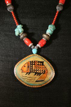 Fish Totem gourd shard necklace, by gourd artist Carla Bratt.   Series 1 - 2007