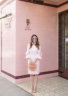 Pink Bow Sleeve Sheath Dress in Los Angeles
