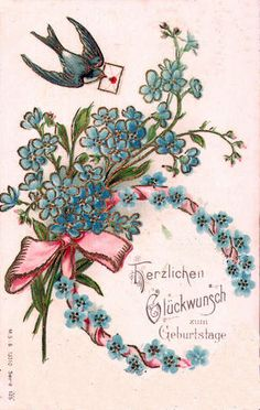 1903 swallow & flowers | Flickr - Photo Sharing!