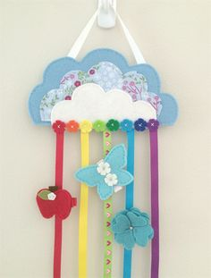 Cloud, blue, flowers, rainbow, hair clips holder, felt, soft pink, organiser
