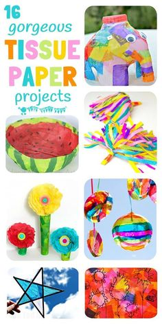 COLORFUL TISSUE PAPER CRAFTS – 16 of the best tissue paper crafts for kids that will have them exploring and experimenting with this colorful and cheap art resource in a multitude of fun and exciting ways. - Education and lifestyle Tissue Paper Crafts, Paper Crafts For Kids, Crafts For Kids To Make, Arts And Crafts Projects, Craft Activities For Kids, Projects For Kids, Fun Crafts, Art For Kids, Craft Ideas