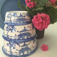 Blue Chinoiserie Dog Bowl